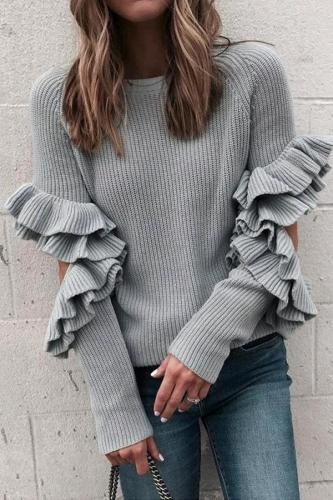 Fashion Pure Colour Ruffled Loose Round Neck Sweater