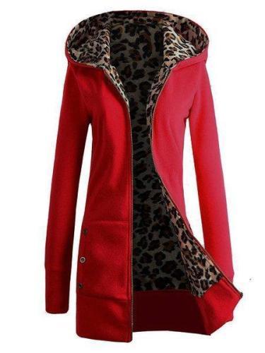 Women Zipper Leopard Print Casual Hoodie Coats
