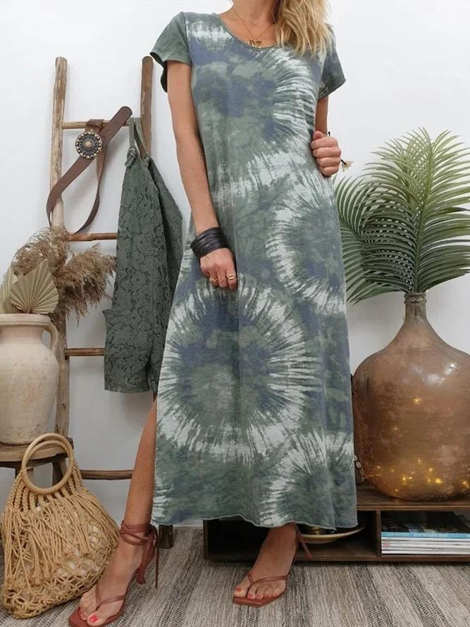 V Neck Women Dresses Daytime Printed/dyed Dresses