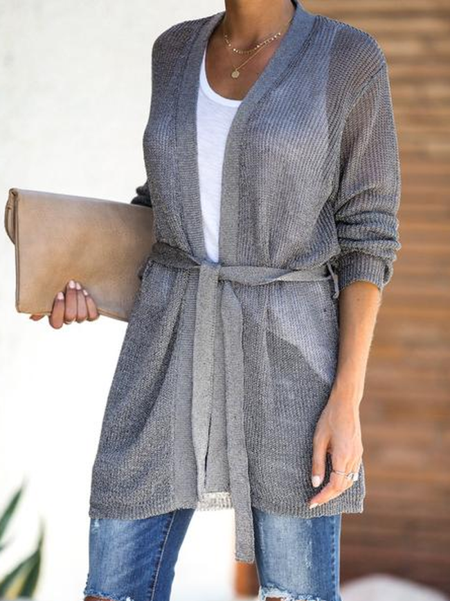 Solid Cotton-Blend Casual Outerwear