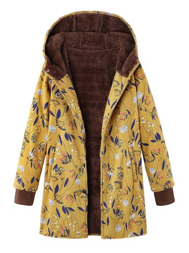 Vintage Floral-Print Hoodie Buttoned Long Sleeve Coat