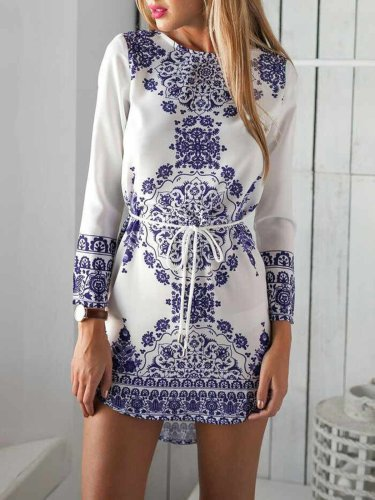 Printed Casual Crew Neck Fall Dress