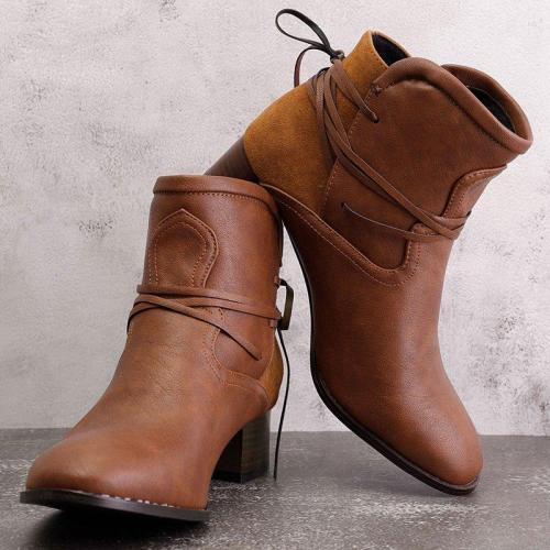 Vintage Low Heel Ankle Boots Plus Size PU Casual Back-lace Boots