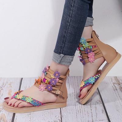 Women's New Retro Ethnic Bohemian Flat Heel Floral Sandals