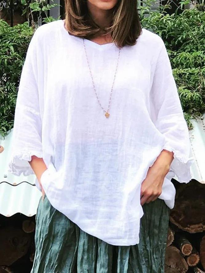 Women Ruffled Sleeves V-Neck Casual Tunic Tops