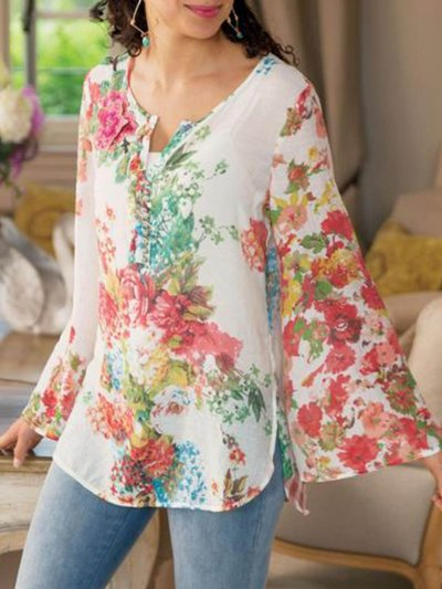 V Neck Bell Sleeve Color-Block Holiday Shirts & Tops
