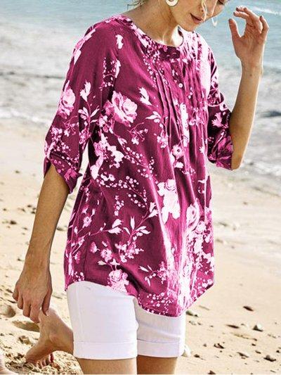 Floral-print Half Sleeve V Neck Blouse