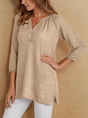 3/4 Sleeve V Neck Linen Casual Shirts & Tops