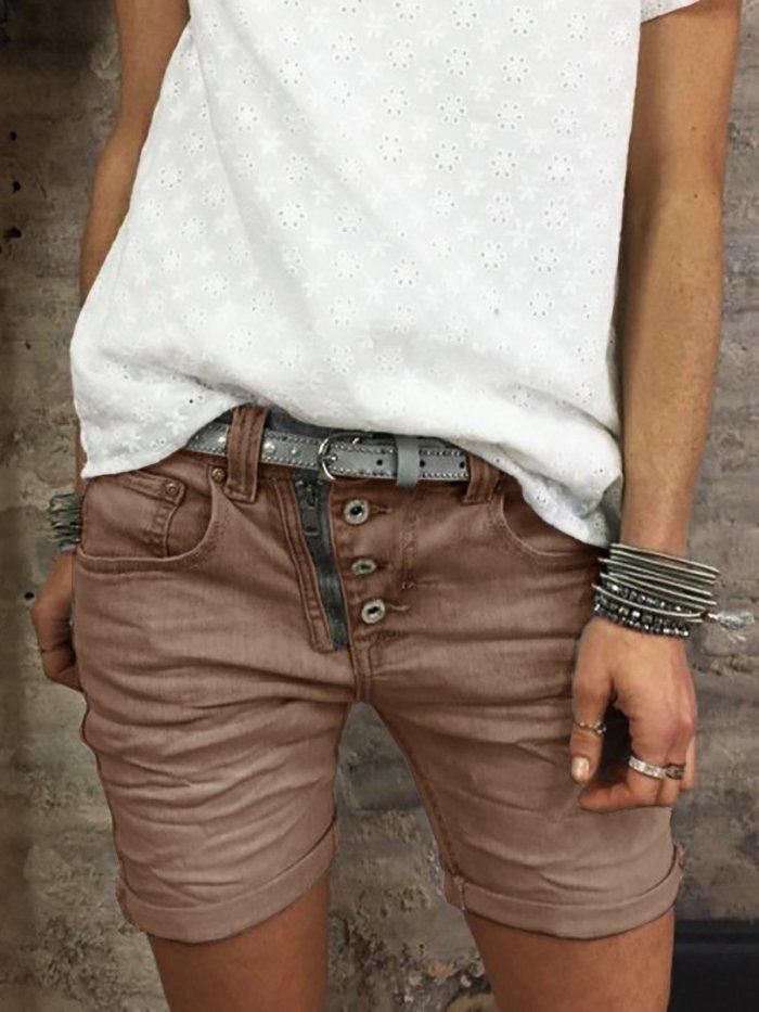 Button Down Zipper Plus Sizee Shorts Pants