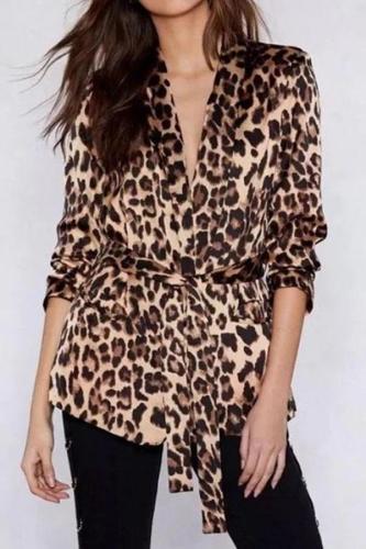 Fashion Leopard Print Long Sleeve Belt Coat