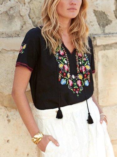 Short Sleeve Boho V Neck Cotton-Blend Shirts & Tops