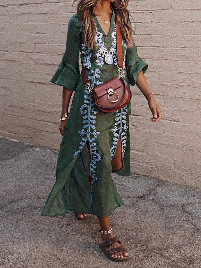 V Neck Women Summer Dresses Daily Vintage Tribal Dresses