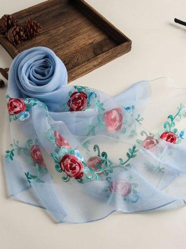 Summer Floral-Embroidered Silk-Blend Long Women Scarf