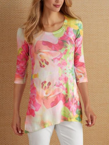 Printed 3/4 Sleeve Casual T-Shirts