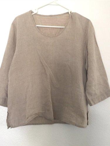 Khaki Linen Short Sleeve Plain Shirts & Tops
