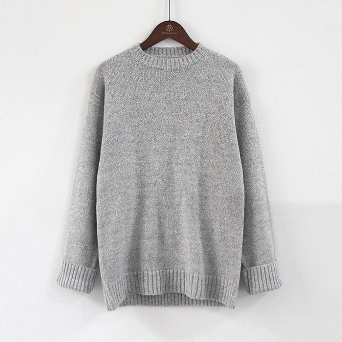 High Quality Hot 2020 Korean Style Women Loose Pullover Sweater Autumn Women Knitted Sweater Pullovers Gray Big Size S-5XL