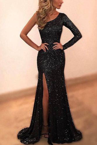 Elegant Slash Neck Spilt Sequin Evening Dress