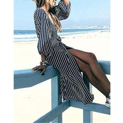 Fashion V Collar Striped Lantern Sleeve Dual Purpose Dustcoat Maxi Dress
