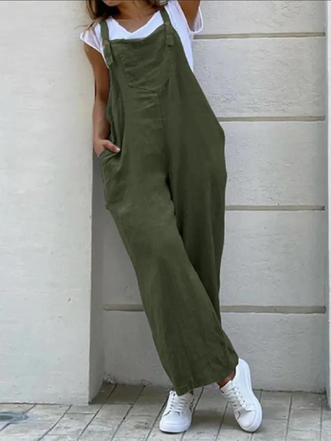Casual Plus Size Pocket Jumpsuit Overalls One-Pieces