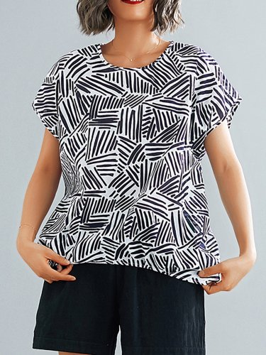 Plus Size Women Short Sleeve  Round Neck  Striped  Floral  Loose Casual  Tops
