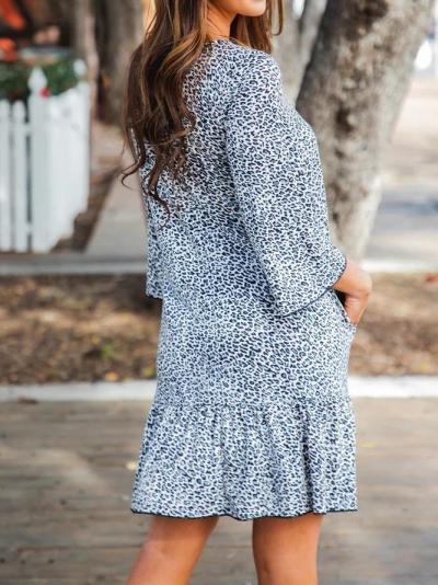 Gray Crew Neck Half Sleeve Dresses