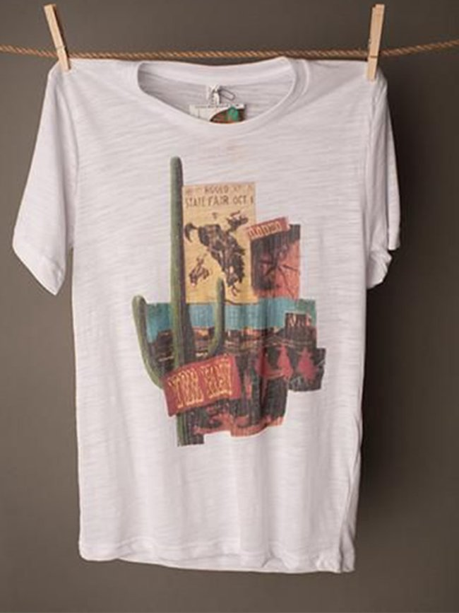 White Cotton-Blend Short Sleeve Printed Round Neck Shirts & Tops