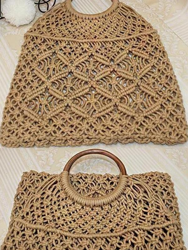 Women's Summer Beach Cotton Rope Woven Tote Bag