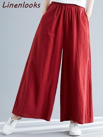 Women Loose Cotton Linen Fashion Street Wear Wide Leg Pants
