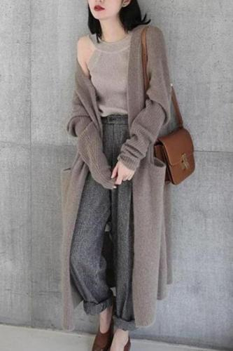 Pure Color Long And Loose Sweaters Coats