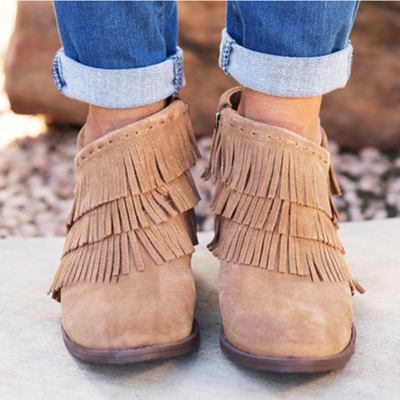 Women Short Tassel Ankle Boots Side Zipper Shoes