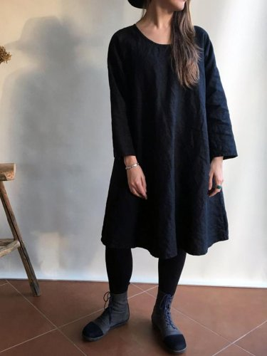 Black Cotton Crew Neck Long Sleeve Dresses