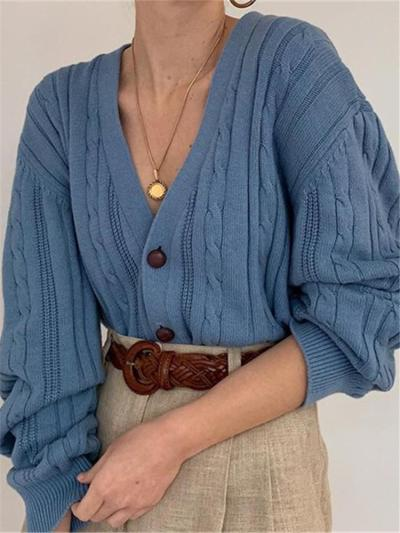 Casual Women's V-Neck Solid Color Knit Cardigan