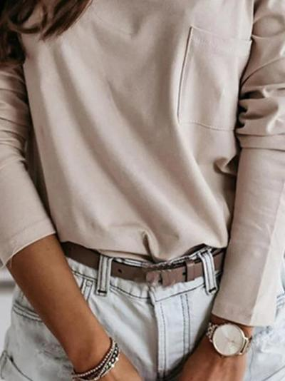 Light Khaki Casual Cotton-Blend Long Sleeve Solid Shirts & Tops