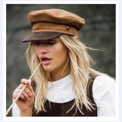 Suede Flat Top Navy Cap Leather Military Hat Sailor Hats Women Hat Fashionable Hat Sailor Cap