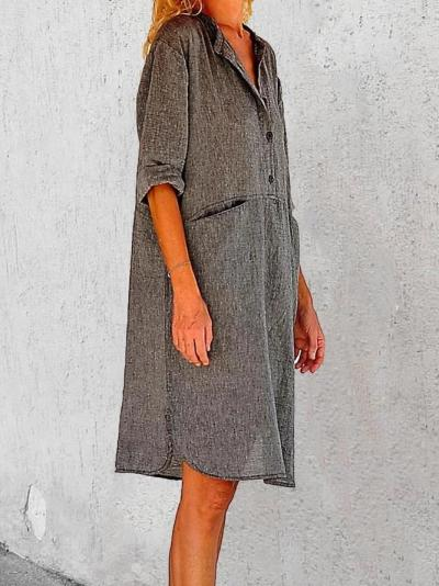 Crew Neck Gray Women Dresses Daily Casual Linen Dresses