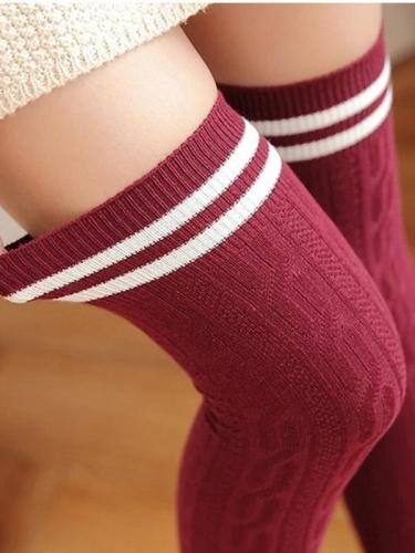 Cute Cotton Long High Overknee Striped Stockings