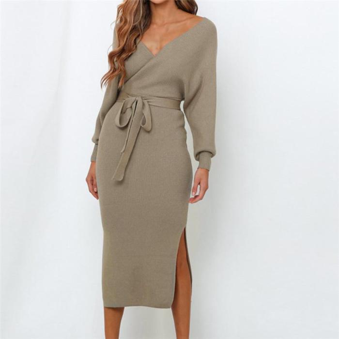 Batwing Sleeve Female Sweater Dress Elegant Party Ladies Bodycon Midi
