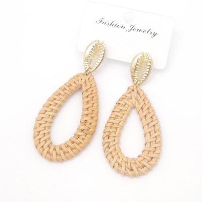 Bohemian Wicker Rattan Knit Pendant Handmade Wood Geometry Long Earrings