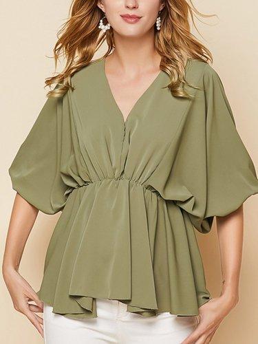 Green Half Sleeve Casual Shirts & Tops