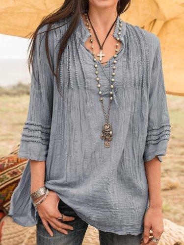 Boho Linen 3/4 Sleeve Guipure Lace Shirts & Tops