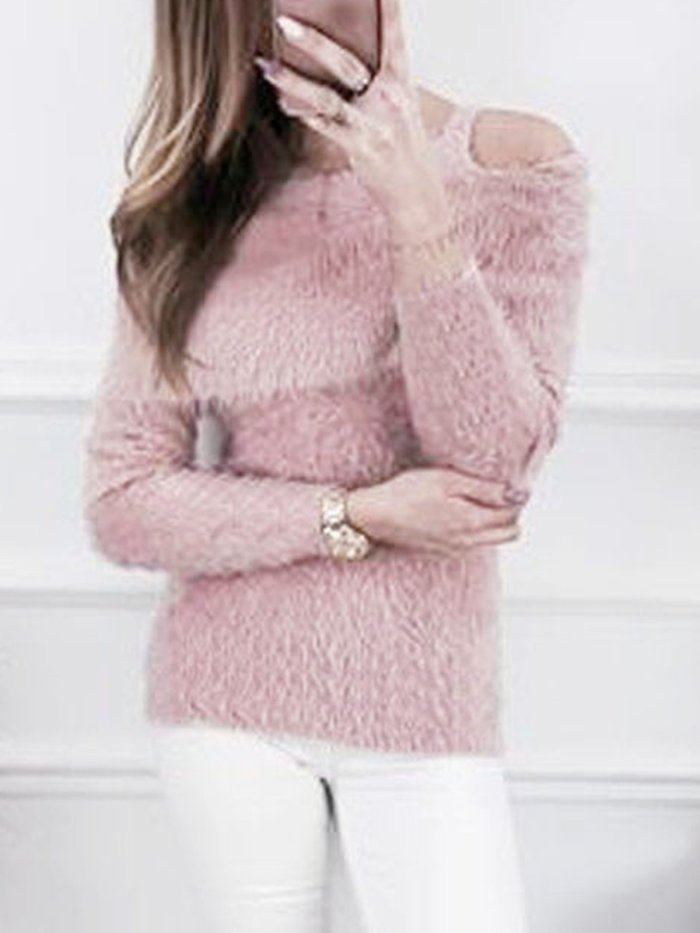 White Solid Cold Shoulder Polyester Casual Sweater