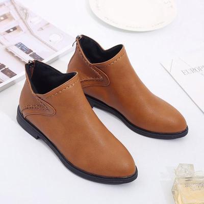 Women Artificial Leather Booties Casual Comfort Zipper Shoes