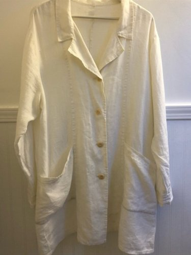 White Casual Shirt Collar Linen Shirts & Tops