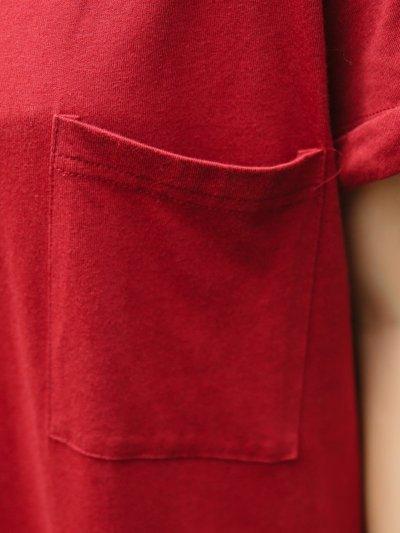 Plus Size Crew Neck Women Red Dress Shift Daytime Pockets Casual Maxi Dress