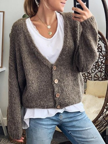Cotton-Blend Long Sleeve Plain V Neck Outerwear