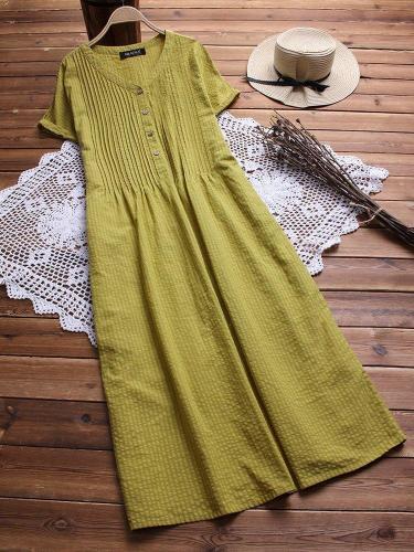 Striped Casual V Neck Linen Maxi Dresses