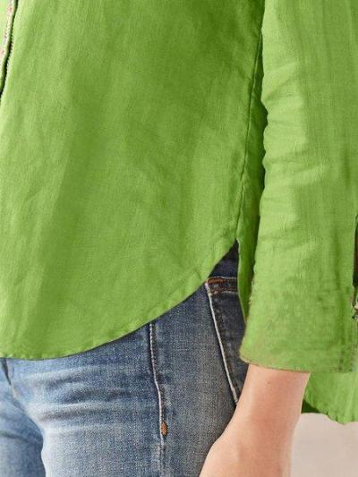 Casual Long Sleeve V Neck Shirts & Tops