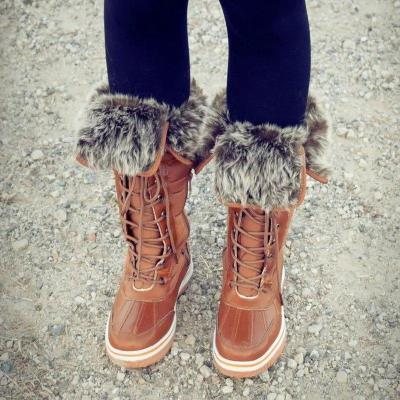 Women Winter Comfy Lace Up Mid-Calf Boots