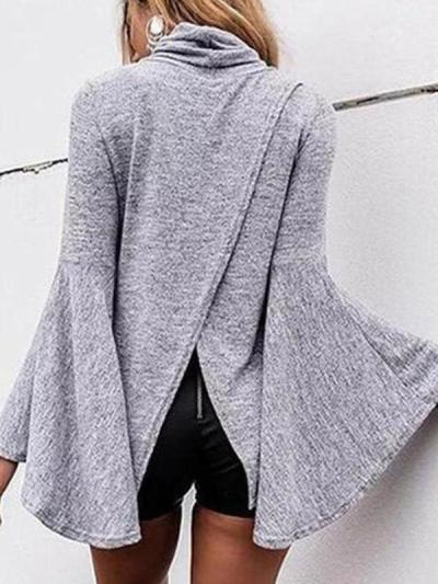 Fashionable High Collar Horn Sleeve Jacket