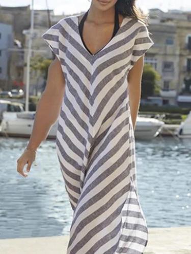Blue Linen Short Sleeve Dresses